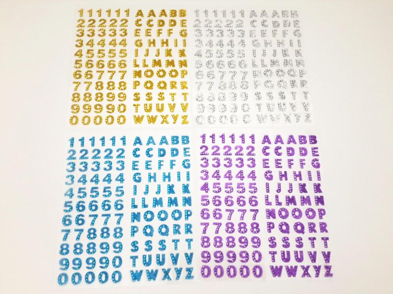 1100pcs/lot Letter and Numbers Self Adhesive Sparkle Rhinestones - Glitter Gemstone Alphabet Self Adhesive Srapbooking Stickers(China (Mainland))
