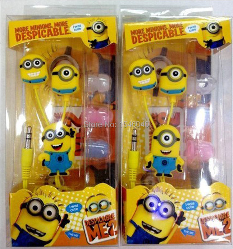 Free Shipping!Cartoon Minions Game headset/headphone with Mic for phone/pad/MP3/MP4 etc 3.5mm jack playback of audio equipment