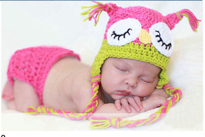 Owl Design Crochet Baby Newborn Costume Photography Props Hand Made Knitting Baby Photo Shoot Clothes for 0-3 Months 1 Set(China (Mainland))