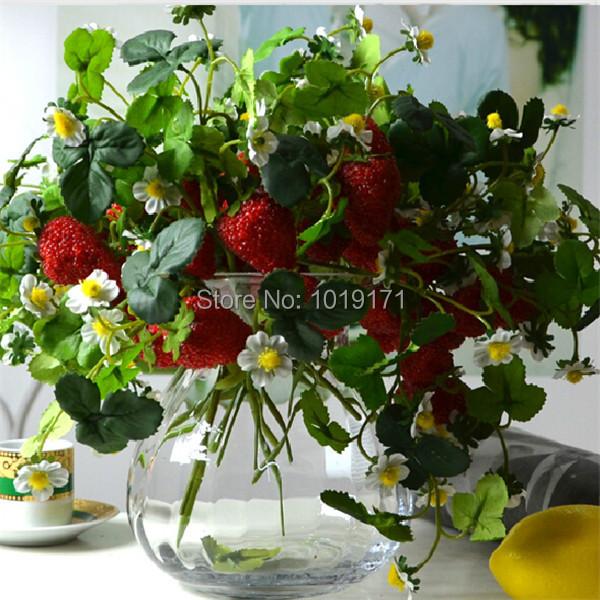 Wedding Home Furniture table centerpiece Decor 6 set Artificial Strawberry Fruit Flower Plant Red flores de artificiais FL1672(China (Mainland))
