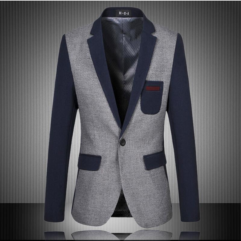 2016 New Slim Fit Casual Jacket Cotton Men Blazer Jacket Single Button Gray Mens Suit Jacket Patchwork Coat Male Suite(China (Mainland))