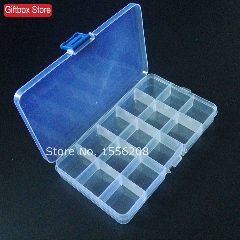 Portable removable transparent plastic box with a lid 15 slots compatments jewelry bead storage box DIY Toys Hardware Tools(China (Mainland))