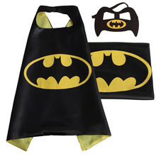 1cape+1mask double side kids superhero capes with mask Halloween batman cape Superman Spiderman for Cosplay Party(China (Mainland))