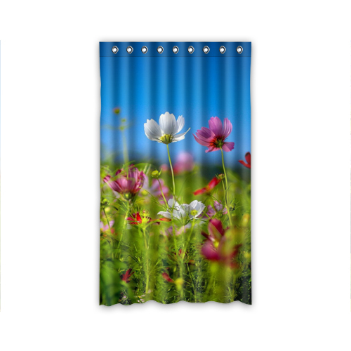 2015 New Window Curtain Blue Sky And Red Small Flowers For Living Room Bedroom Curtain Customize