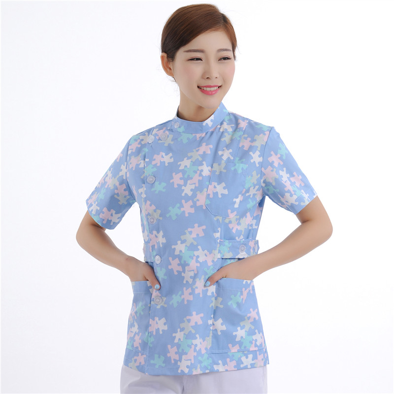 New Women Medical Scrub Sets Nurse Hospital Uniforms Dental Clinic Beauty Salon Short Sleeve Flower Printing Medical Scrubs(China (Mainland))