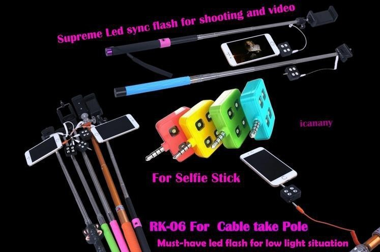 Hot Sell ICANNY RK06 Smart Phone Sync 7.6*1.1*5.3CM LED Flash For The Wire Monopod Selfie Enhancing LED Flash With Cellphone Etc
