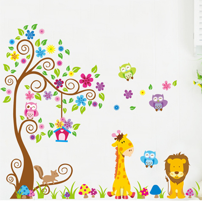 Latest Big Size Flower Colorful Tree Cartoon Amimal Tiger Squirrel Wall Sticker for Kids Room Cute Children Decal Wallpaper(China (Mainland))
