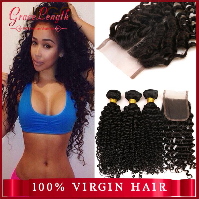 Hot Sale 6A Virgin Brazilian Deep Wave With Closure 4 Bundles 100 Human Hair Queen Hair