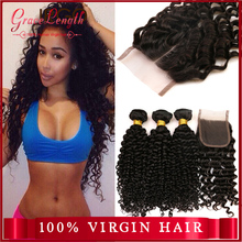 Free Shipping 5A Brazilian Deep Wave Virgin Hair With Closure Modern Show Hair Brizilian Virgin Hair With Closure 4pcs lot