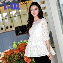 2015 Hot Sale Autumn Women Half Sleeve mesh patchwork hollow out sweet casual blouse shirt empire loose flare tops elegant XXXXL