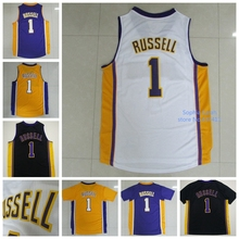 New Arrival !!! Los Angeles #1 D'Angelo Russell Yellow Purple Basketball Jersey, Size: S-XXL, Free Shipping