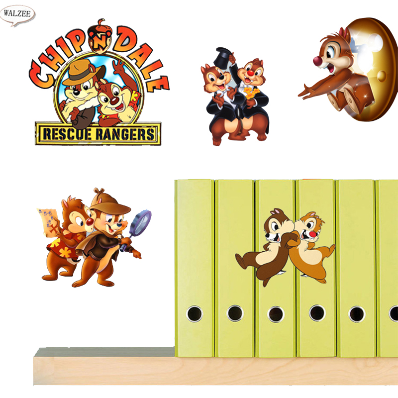 Chip 'n Dale- Rescue Rangers Chip and Dale Game 3d DIY Kid Room Decoration Cartoon Decal DIY Wall Suitcase Kitchen Stickers(China (Mainland))