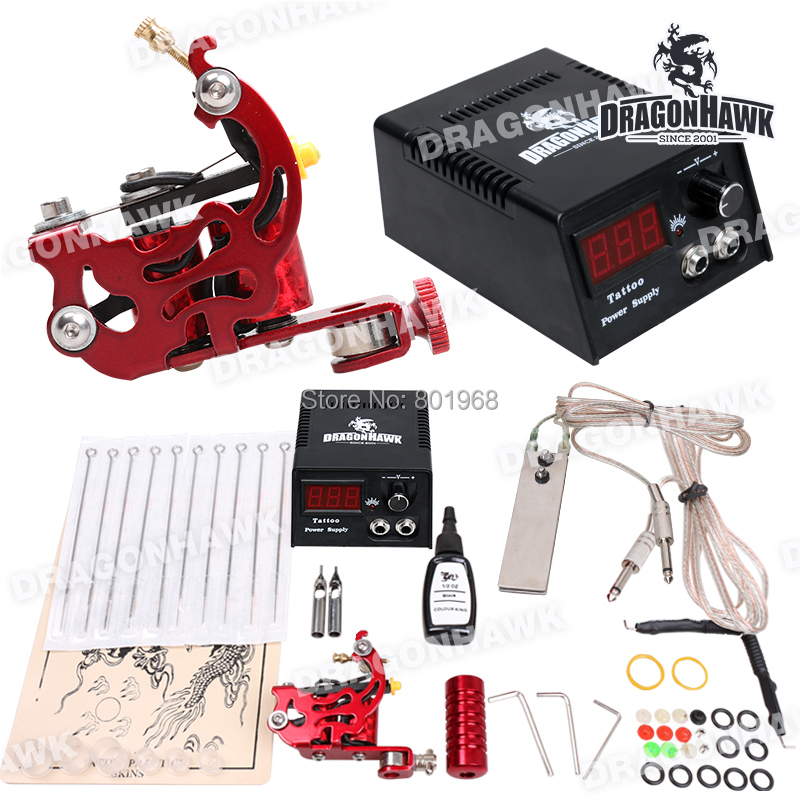 D1013 cheapest tatooo Machine with tattoo ink Supply Set Equipment complete beginner Tattoo Kit(China (Mainland))