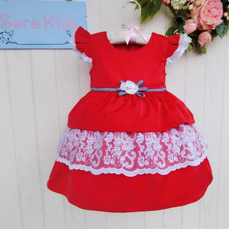 Wholesale girls ball gown dress lace decoration short sleeved kid girls dress party dress Size:1-6 6pcs/1lot 20140264