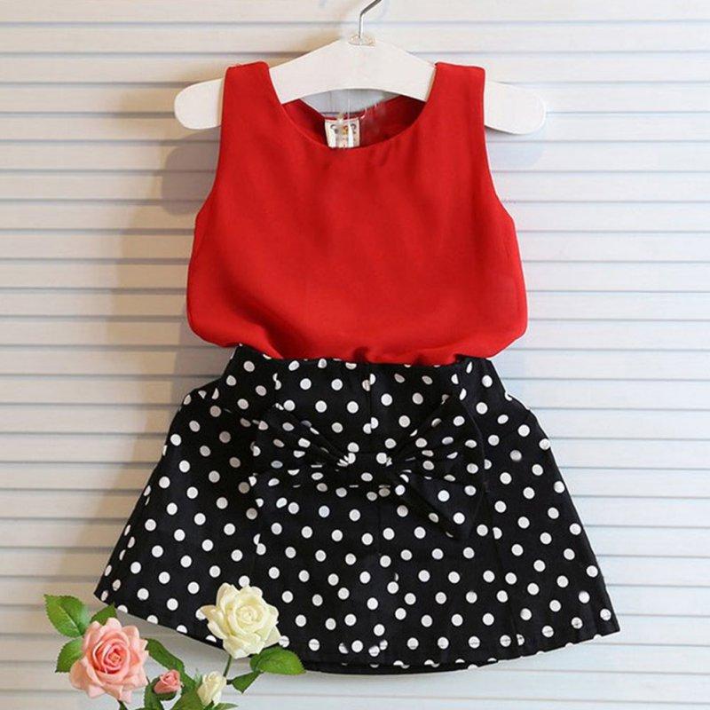 2pcs Baby Girl Summer Clothing Set Sleeveless T-shirt + Polka Dot Skirt Kids Outfits(China (Mainland))