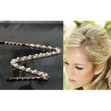 Donne imitazione perla tiara boho chic da sposa testa catena monili dei capelli accessori tornante hairband per foto di nozze partito a00433(China (Mainland))