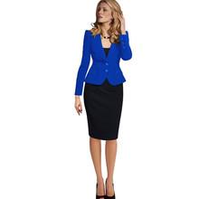 2016 New Women Autumn Winter Long Sleeve Office suit TNotches Button Wear to Work Business Outwear Jacket Blazer Plus Size