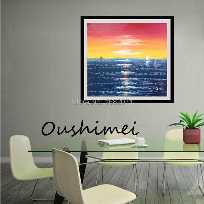 Newest  Hand Painted Wall Picture Beautiful Ocean And Sunset Impress Landscape Oil Painting Canvas Art For Living Room(China (Mainland))