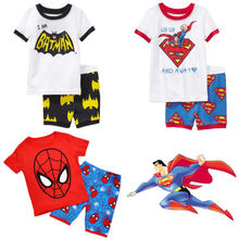 Summer Baby Toddler Kid Boy Spiderman Superman Batman Suit T-shirt Pants Outfits(China (Mainland))