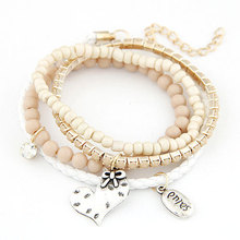 Metal Heart Beads bracelets & bangles jewel pendant Korean Bracelets Bangles For Women Accessories Fashion Jewelry Wholesale(China (Mainland))