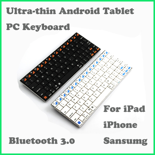 E6500 Ultra-thin Blade Wireless Bluetooth 3.0 Android Tablet PC Keyboard For ipad iphone sansumg Retail Box+Freeshipping