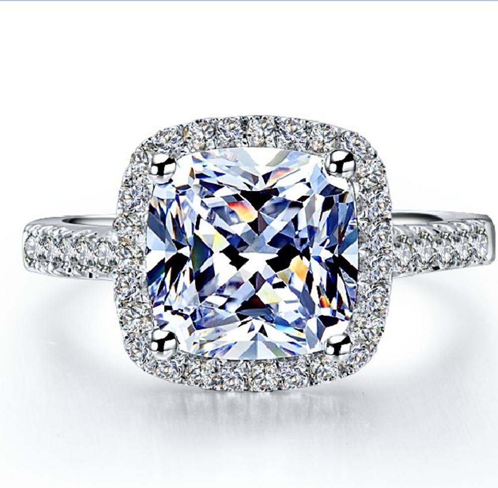 Hot Sale Popular 2 Carat Brilliant Cushion Cut Halo Style