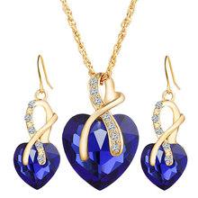 New Suit Heart Shape Fashion Women Wedding Silver Jewelry Set Crystal Earring Necklace Pendant Rhinestone Hot Sale(China)
