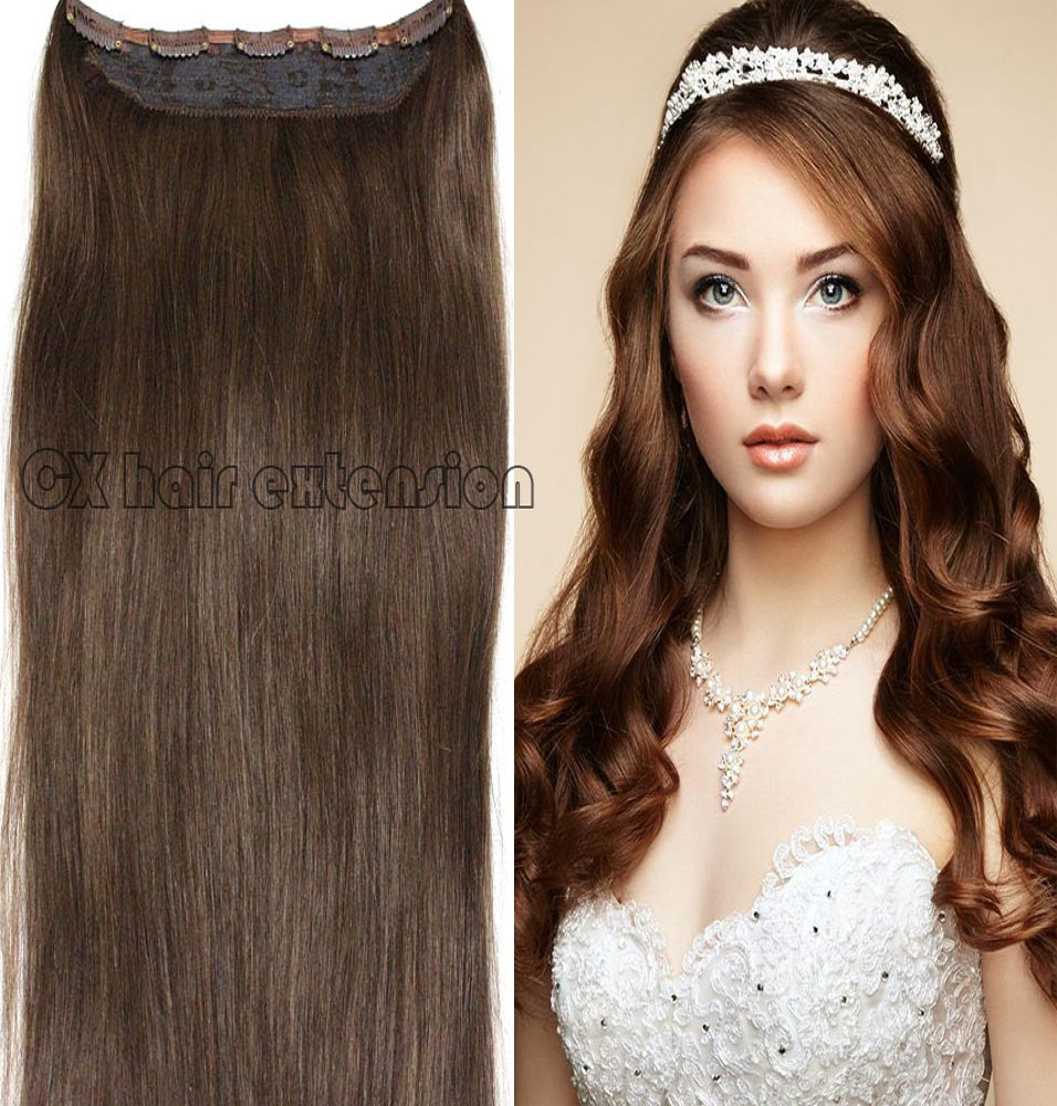 #4  medium  brwon  Full Head 1pcs full head set  Brazilian Virgin remy human hair extensions clips in/on 26 colors available<br><br>Aliexpress