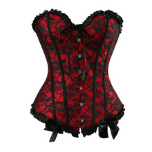 Buy Sexy Satin Floral Gothic Lace Boned Overbust Corset Bustier Waist Trainer Plus Size S-2XL G-string for $10.99 in AliExpress store