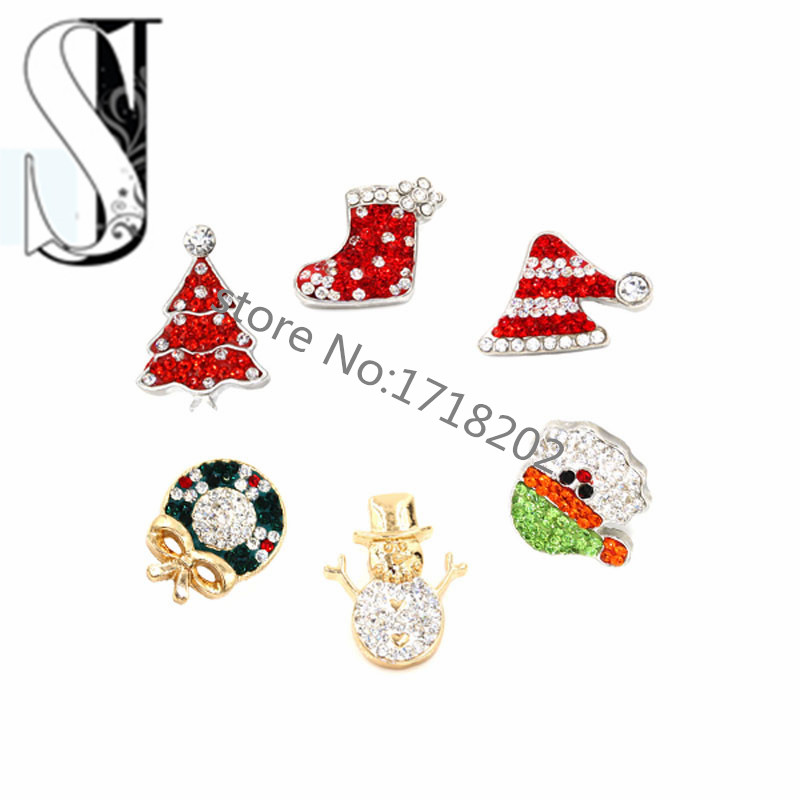 Snaps Snap Charm Holiday Ginger Chunky Interchangeable Jewelry Button Rhinestone Christmas Decoration DIY charms - Peijia store