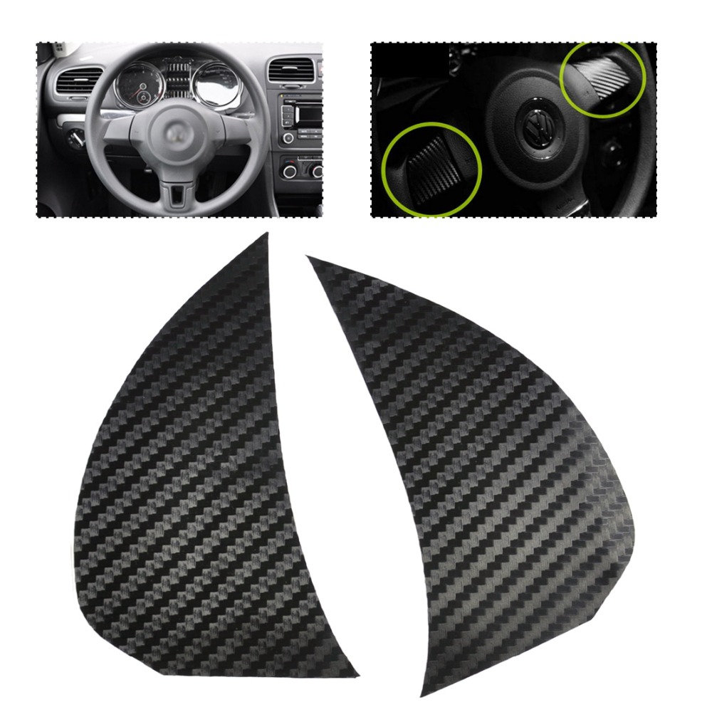 Free shipping # 2PCS Carbon fiber Steering Wheel Cover Trim Cover sticker for Volkswagen VW Golf MK6 Golf6 2009 - 2011 Polo Bora(China (Mainland))