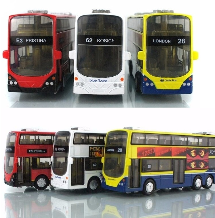 Free Shipping Hot Sale 1:43 Alloy Car Pull Back London Double-Decker Bus Toy Cars Model Toys For Children Can Open Door(China (Mainland))
