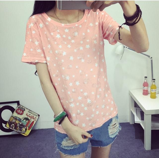 2016 женщин летняя футболка мода звезды печатных вершины с коротким рукавом отверстия нижнего платья Высокое качество бесплатная доставка