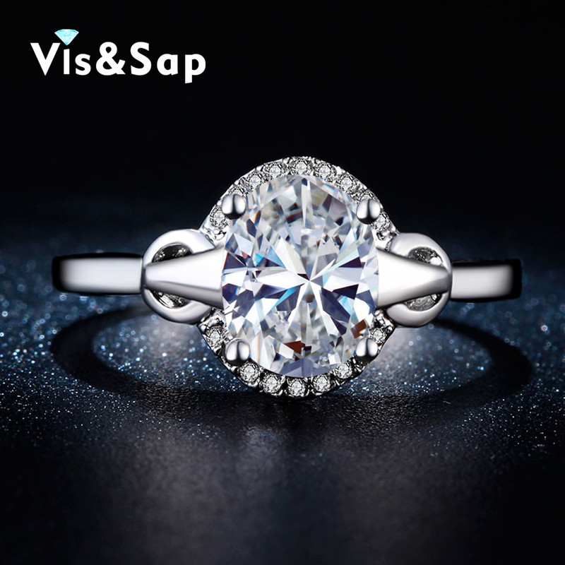 White gold plated rings AAA CZ diamond Wedding rings vintage bague engagement Rings For women Bijoux fashion jewelry VSR280(China (Mainland))