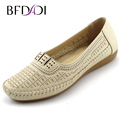 BFDADI Fashion Summer Flat Shoes Openwork Printing Women New Arrival Flats Casual Ladies Round Toe Flat