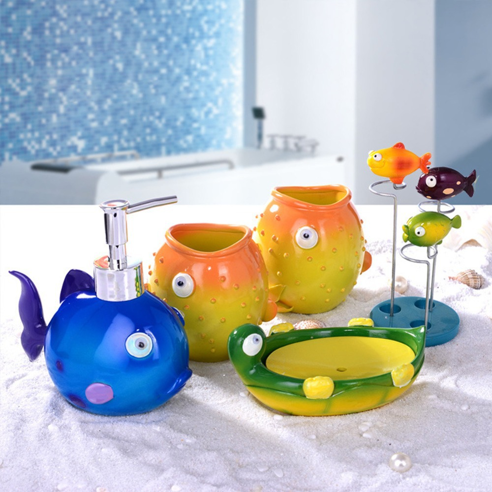 Cute Cartoon Fish Duck Bath Set Gift Bathroom 5 pcs Set Soap,Toothbrush Holder,Lotion Dispenser DIY Wash Cup Bath Accessory(China (Mainland))