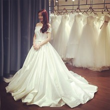 2016 Simple Retro Wedding Dress Boat Neck Bridal Gowns With Bow Sash Vestido De Noiva Brautkleid Robe De Mariage jordans women(China (Mainland))