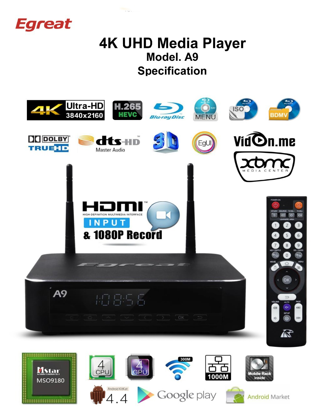Egreat A9 4K Media Player Mstar MSO9180 2G/16G 2.4G/5G WIFI 3D Dolby DTS 7.1 RAW SATA USB3.0 Bluetooth SEW3.0 Android 4.4 system(China (Mainland))