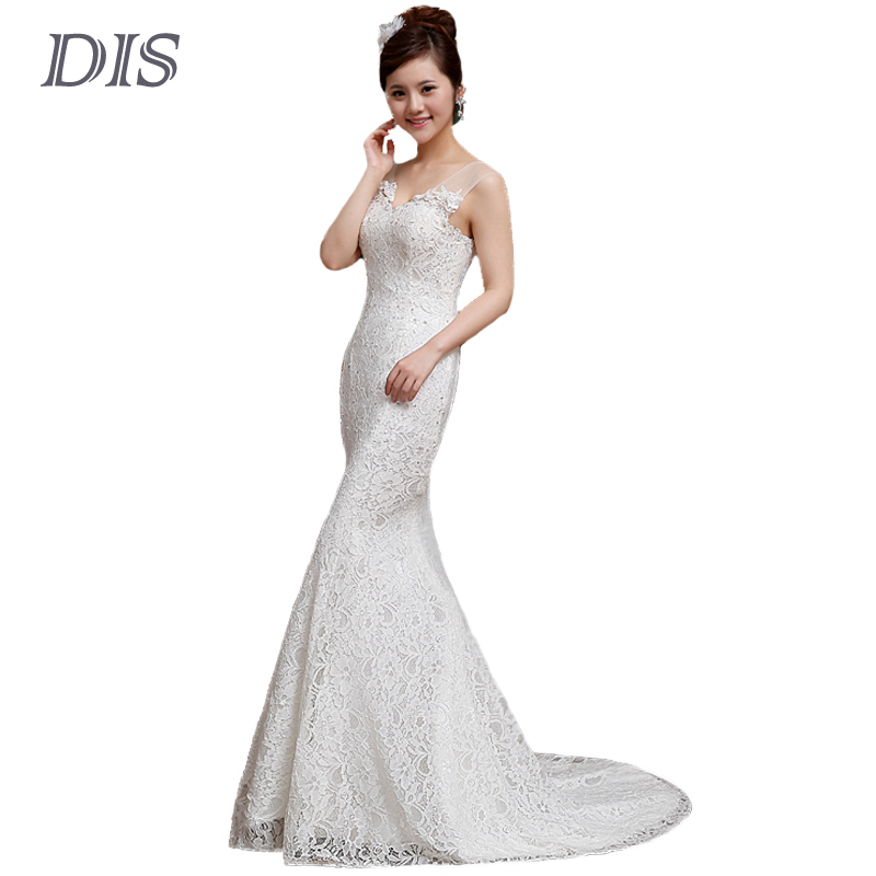 Dis new plus size lace mermaid wedding dresses sexy cheap for Cheap plus size lace wedding dresses