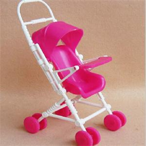 1PC Novetly Children Toys Cute Pink Doll Stroller Lovely Mini Doll Furniture Cart Plastic Doll Accessories Assembly Trolley(China (Mainland))