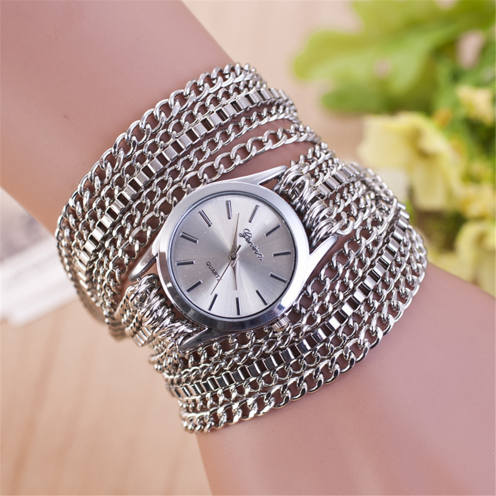 Luxurious band quartz watch women party Luxury dress watch fashion Alloy all chain bracelet watch men