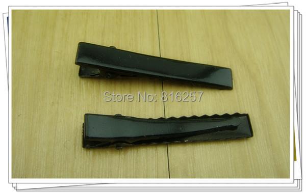Free ship 200pcs/lot black New Prong Barrettes & Brooch Clips Finding, Alligator clips, Crocodile Clips 45mm DIY hairclips(China (Mainland))