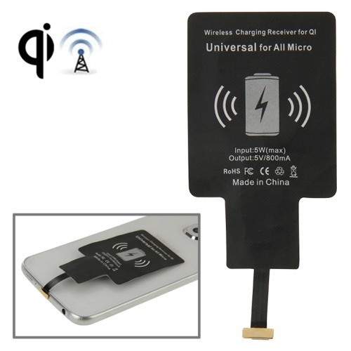 High Qualtiy Mobile Phone Battery Charger Wifi Charger Wireless Charging Receiver for QI Universal for All Micro(Black)