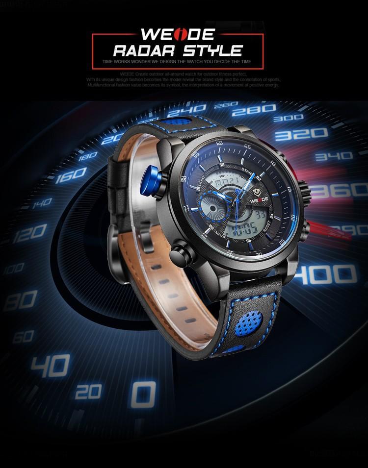 Часы мужские WEIDE кварцевые светодиодные водонепроницаемые с синей подсветкой и элементами. фото