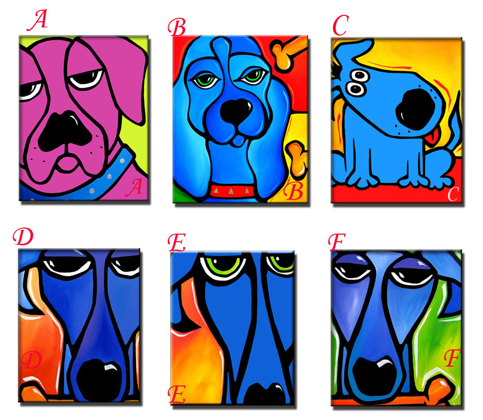 Free Shipping 100 Handmade Animal paintings on Canvas Pop Colourful wall Art For wall Decor Modern Abstract Dogs oils paints(China (Mainland))