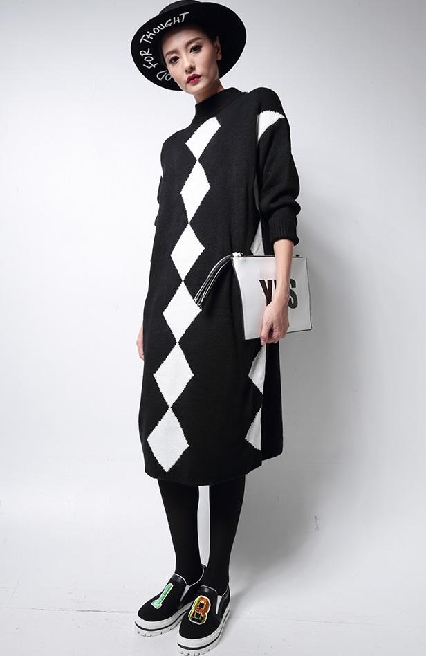 Melinda Style 2015 new women knitted dress autumn&winter plaid pattern loose sweater dress vestidos free shipping
