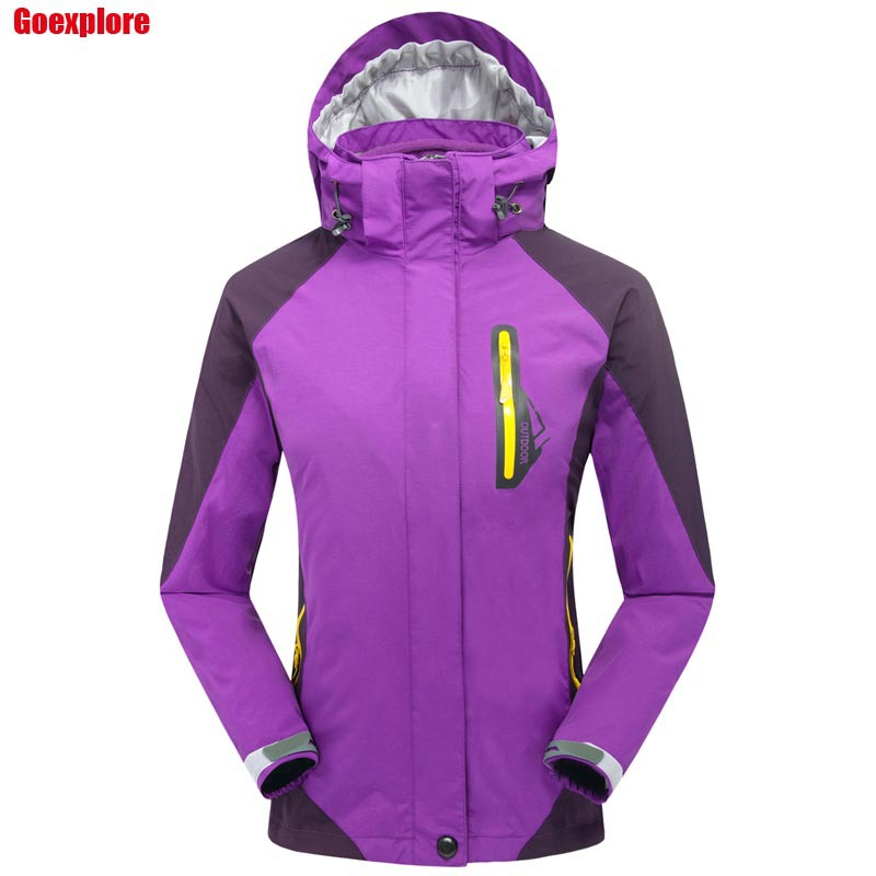 Фотография Dropshipping thicken jacket double layer ladies waterproof outdoor hiking camping coat jacket lady outerwear winter women