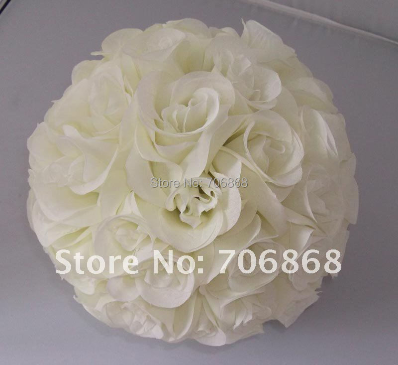 Free shipping 25cm*12 pcs Rose kissing ball artificial silk flower wedding decoration Ivory/cream color(China (Mainland))