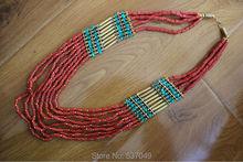 Tibetan Jewelry Handmade Nepal Ethnic Tibet Tribal Brass Coral Turquoise Multi Rows Women Necklace (15000166)(China (Mainland))