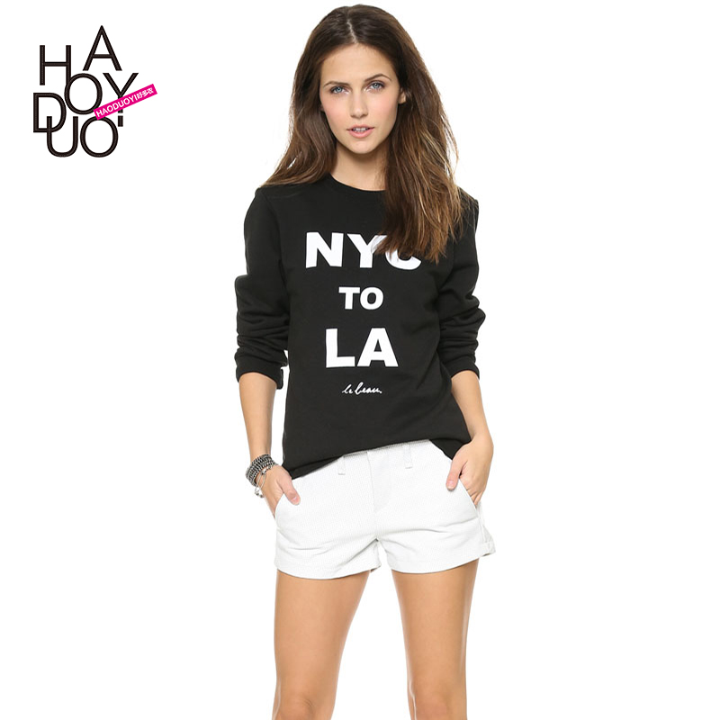 NYC to LA white poster printing letters elastic rib hem hoodies T haoduoyi leader(China (Mainland))